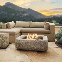 Real Flame Antique Stone LP Rectangle Fire Table w/NG Conversion kit (Ships Truck Call for Rates)