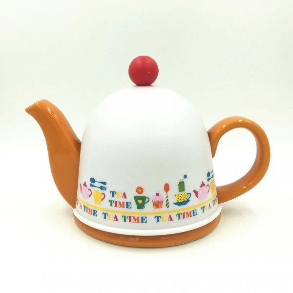 Cozy Porcelain Tea Pot with Infuser and Pot Warmer(Orange)