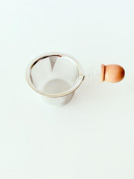 "2.5"" Tea Pot Strainer with Wood Handle"