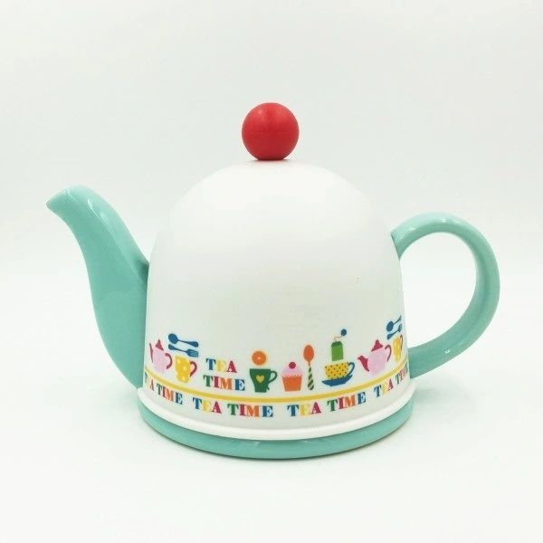 Cozy Porcelain Tea Pot with Infuser and Pot Warmer(Turquoise)