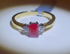 18YW Ruby and Diamond 3 Stone Ring