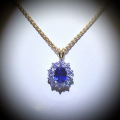 18YW Sapphire and Diamond Cluster Pendant