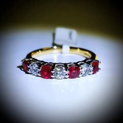 9YW Ruby and Diamond Seven Stone Eternity Ring