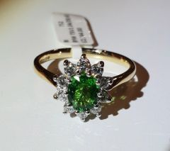 9YW Tsavorite and Diamond Cluster Ring