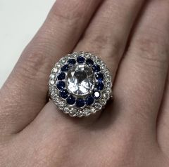 18WG White and Blue Sapphire and Diamond Dress Ring