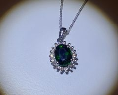 9WG Tsavorite and Diamond Cluster Pendant
