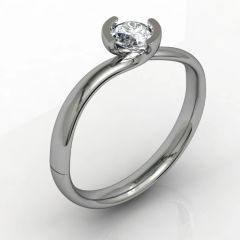 Single Stone Part Rub set Diamond Engagement Ring