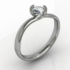 Single Stone Part Rub set Diamond Engagement Ring