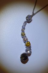 18WG Coloured Multiple Diamond Pendant