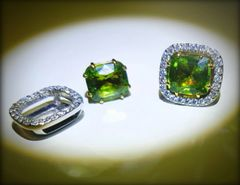 9WG Peridot and Diamond Earrings with Removable Jackets