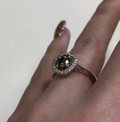 9WG Chocolate and White Diamond Ring