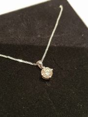 18ct White Gold Diamond Solitaire Pendant