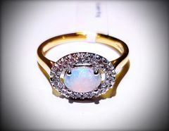 9ct Yellow Gold Opal and Diamond Cluster Ring