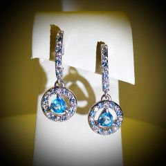 9WG Blue Zircon, London Blue Topaz and Diamond Drop Earrings