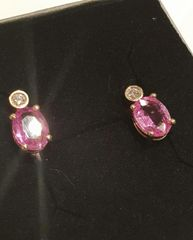 9YG Pink Sapphire and Diamond Earrings