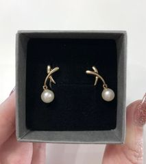 9YG Freshwater Pearl Drop Stud Earrings