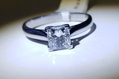 18WG Princess Cut Diamond Solitaire Ring. Certified Diamond