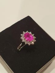 9WG Pink Sapphire and Diamond Cluster Ring