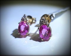 9YG Pink Tourmaline and Diamond Earrings.