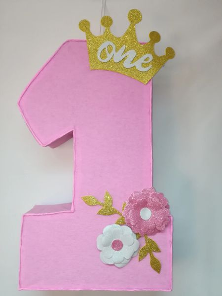 Number one princess gold crown and flowers pinata number one pin number one princess gold crown and flowers pinata number one pink with gold crown and flowers pinata princess party decoration mightylinksfo