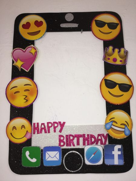 Emoji Birthday Party Movie Photo Booth Frame Props Decoration