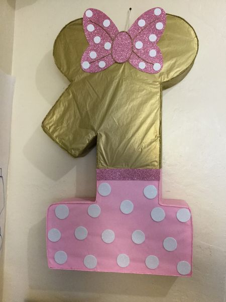 Number Minnie Mouse Gold Pinata Minnie Mouse Gold And Pink Diy