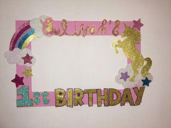Unicorn Birthday Party Rainbow Unicorn Photo Booth Frame Unicor