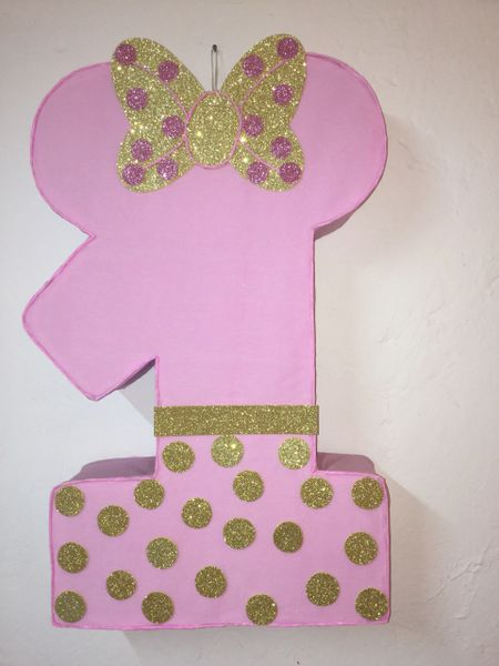 Minnie Mouse Pinata Number 1 Gold And Pink Diy Birthday