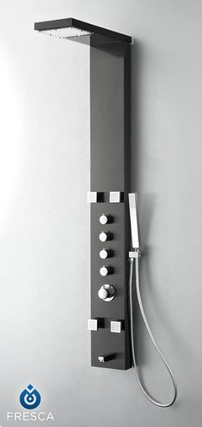 Verona Stainless Steel (Brushed Gray) Thermostatic Shower Massage Panel