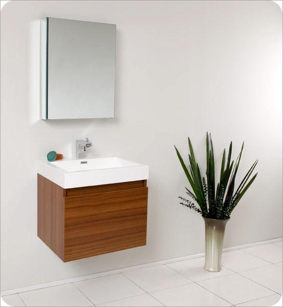 Fresca Nano Teak Modern Bathroom Vanity w/ Medicine Cabinet 24''