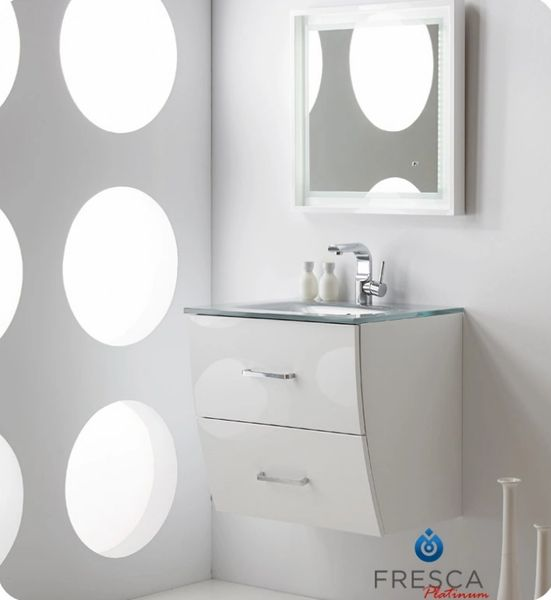 "Fresca Platinum Wave 24"" Glossy White Modern Bathroom Vanity"