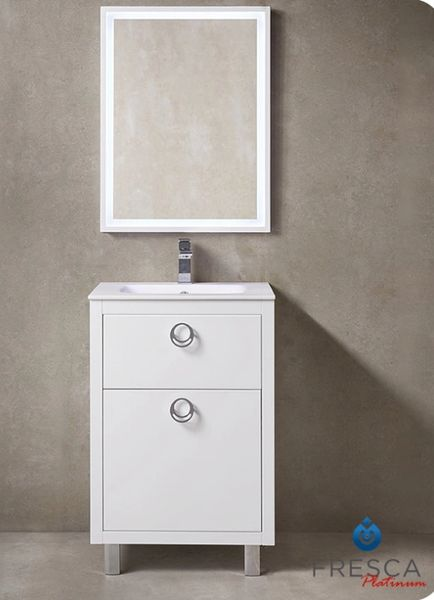"Fresca Platinum Due 24"" Glossy White Bathroom Vanity"