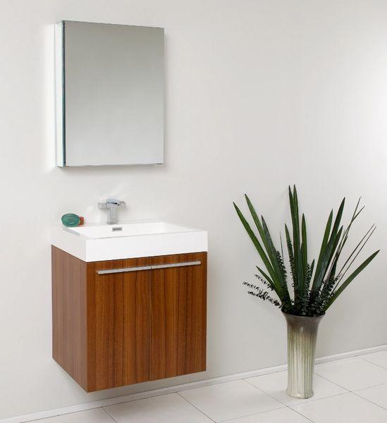 "Fresca Alto 23"" Teak Modern Bathroom Vanity w/ Medicine Cabinet"