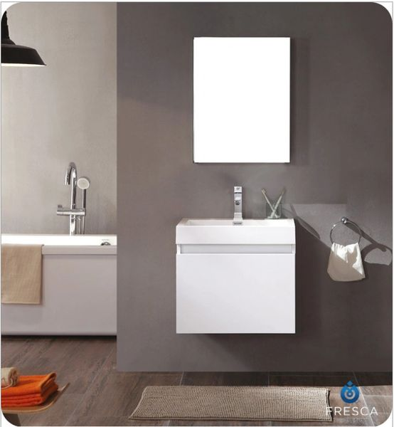 Fresca Nano White Modern Bathroom Vanity w/ Medicine Cabinet 24''