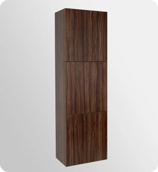 Bathroom Linen Side Cabinet w/ 3 Large Storage Areas WALNUT