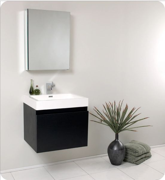 Fresca Nano Black Modern Bathroom Vanity w/ Medicine Cabinet 24''