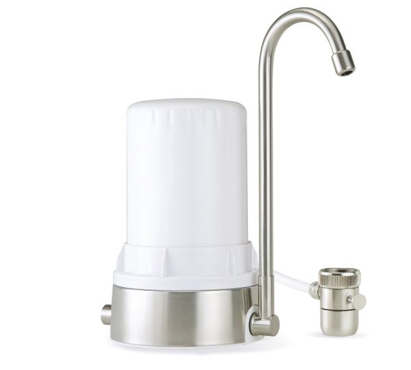 Ayro HT Plus - Countertop Water Filter with Alkaline Minerals & Antioxidants - White Brushed Stainless