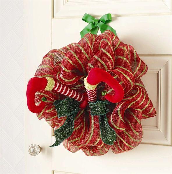 mud pie christmas elf legs mesh mailboxdoor wreath decor - Mud Pie Christmas Decor