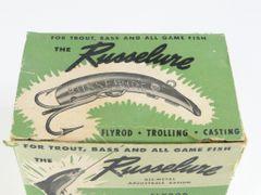 Russelure 1950's Dealer 1/2 Dozen Box of Flyrod Size 1/2 inch lures! in Gold Color