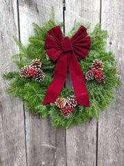 "Woodside - 24"" Wreath - Fully Decorated w/ Burgundy Bow"