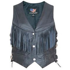 AL2354-Black Fringed Leather Vest