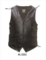 Men's soft shoulder lace Motorcycle Leather Vest