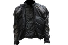 Men's Grey nylon padded armor Motorcycle Jacket