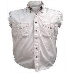 AL2903-Men's Cream Denim Sleeveless Shirt
