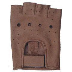 AL3010-Brown Leather Fingerless Gloves