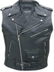 Mens Buffalo leather sleeveless motorcycle Jacket