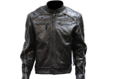 Mens Motorcycle Leather Jacket With Racer Collar