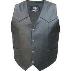 AL2203-Plain Buffalo Leather Motorcycle Vest