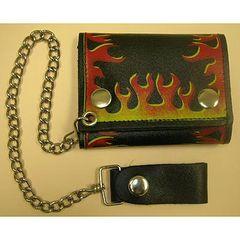 AL3270-Flame Tri-fold Chain Biker Wallet