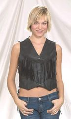 Ladies Motorcycle Vest with Braid, Fringes and Sidelaces